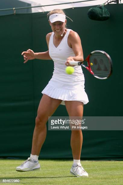 Germany's Angelique Kerber in action against Great Britain's Elena Baltacha