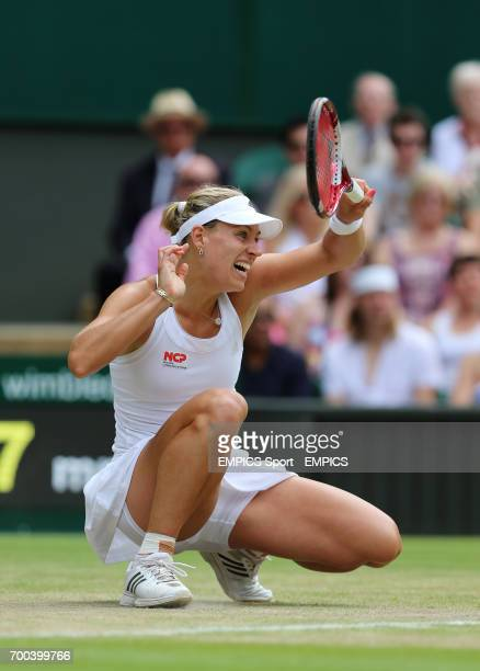 Germany's Angelique Kerber in action against Russia's Maria Sharapova