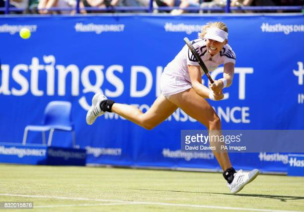 Germany's AnnaLena Groenefeld in action against Russia's Svetlana Kuznetsova during the Hasting's Direct International at Devonshire Park Eastbourne