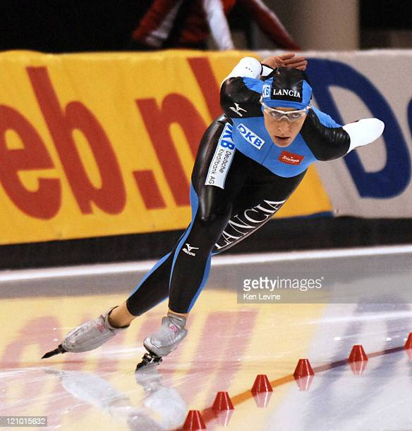 Germanys Anni Friesinger skates to a new short lived world record at the Essent ISU World Cup Women's 1500 m speed skating event at the Utah Olympic...