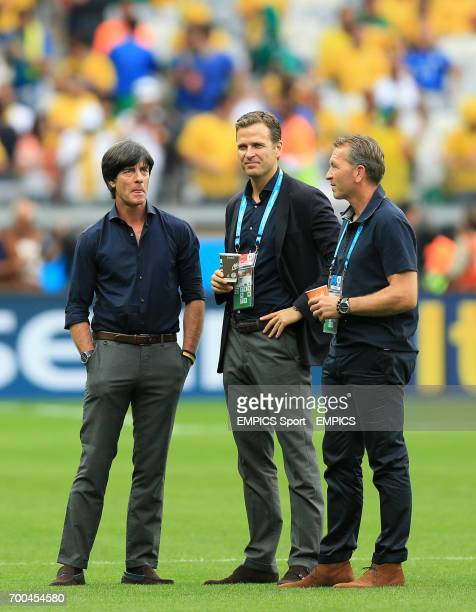 Germany's assistant coach HansDieter Flick head coach Joachim Loew and team manager Oliver Bierhoff