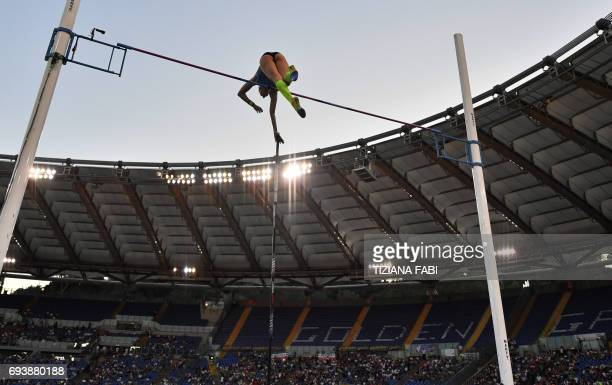 Germany's athlete Lisa Ryzih competes in the women's pole vault event during the Rome IAAF Diamond League athletics competition on June 8 2017 at the...