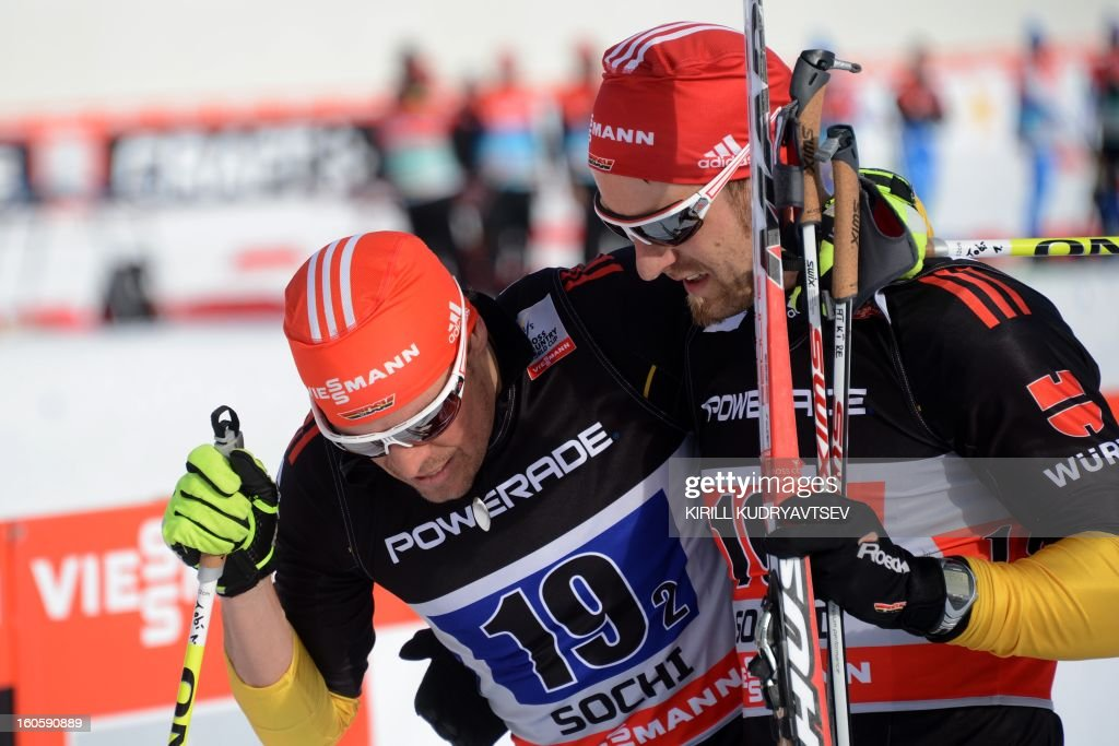 Germany's Axel Teichmann (R) and Tobias Angerer react after 6 x 1,8 km Men's Classic Team Sprint of FIS Cross Country skiing World Cup at Laura Cross Country and Biathlon Center in Russian Black Sea resort of Sochi on February 3, 2013. Russia's Maxim Vylegzhanin and Dmitry Japarov took the first place ahead of Sweden's Teodor Peterson and Emil Joensson and Germany's Axel Teichmann and Tobias Angerer .