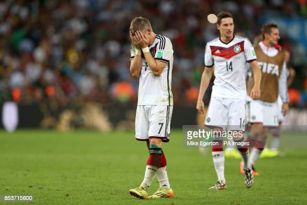 Germany's Bastian Schweinsteiger celebrates at the final whistle