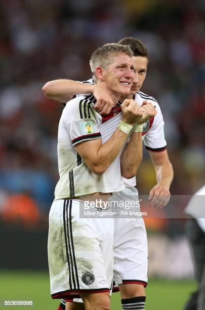 Germany's Bastian Schweinsteiger celebrates winning the World Cup after the FIFA World Cup Final at the Estadio do Maracana Rio de Janerio Brazil