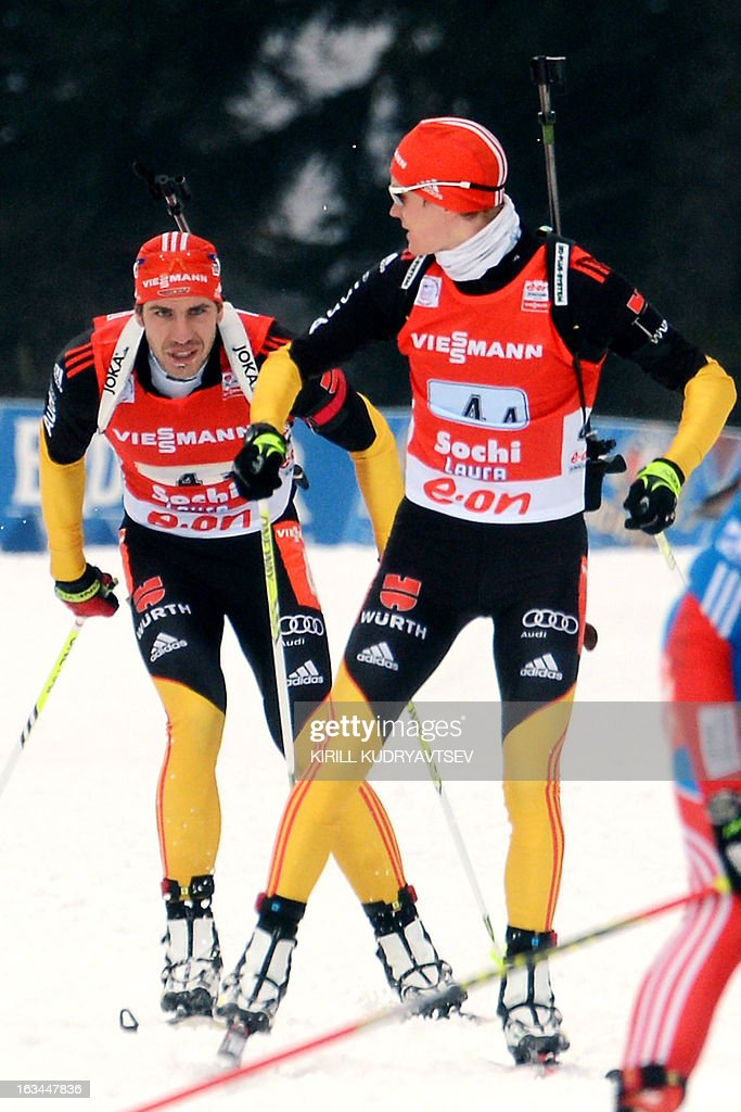 Germany's Benedikt Doll (R) and Arnd Peiffer compete in the Men 4x7,5 km Relay during IBU World Cup Biathlon at Laura Cross Country and Biathlon Center in Russian Black Sea resort of Sochi on March 10, 2013. Russia's team took the first place ahead of Germany and Czech Republic. AFP PHOTO/KIRILL KUDRYAVTSEV
