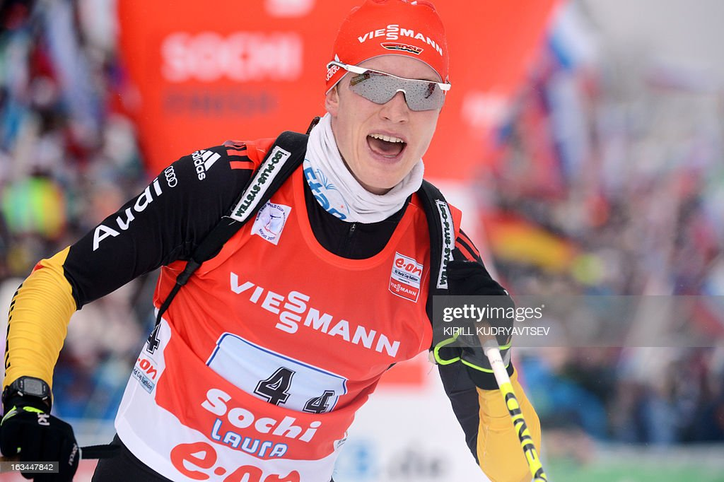 Germany's Benedikt Doll celebrates his second place after the Men 4x7,5 km Relay during IBU World Cup Biathlon at Laura Cross Country and Biathlon Center in Russian Black Sea resort of Sochi on March 10, 2013. Russia's team took the first place ahead of Germany and Czech Republic.