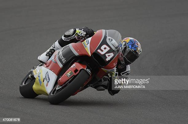 Germany's biker Jonas Folger rides his Kalex during the Moto 2 free practice of the Argentina Grand Prix at Termas de Rio Hondo circuit in Santiago...