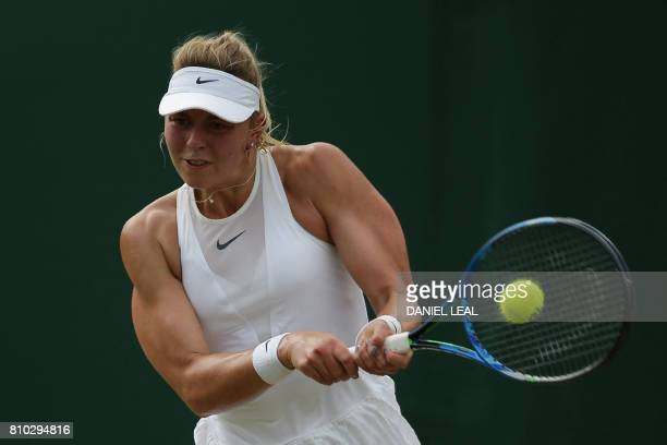 Germany's Carina Witthoeft returns against Ukraine's Elina Svitolina during their women's singles third round match on the fifth day of the 2017...