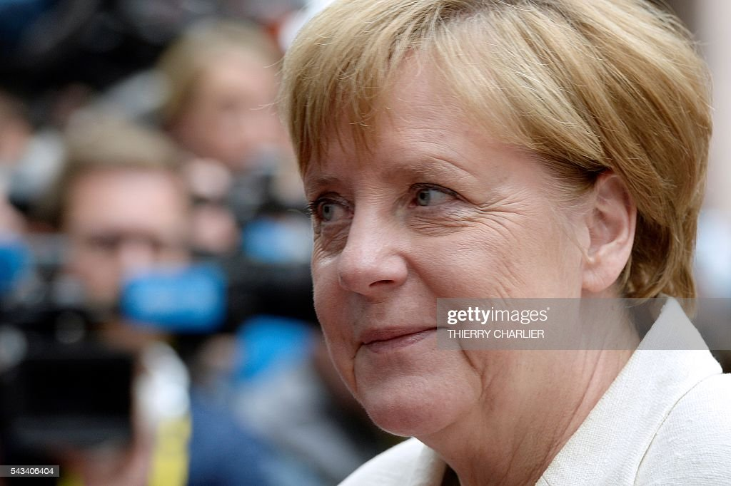 Germany's Chancellor Angela Merkel arrives before an EU summit meeting on June 28, 2016 at the European Union headquarters in Brussels. / AFP / THIERRY