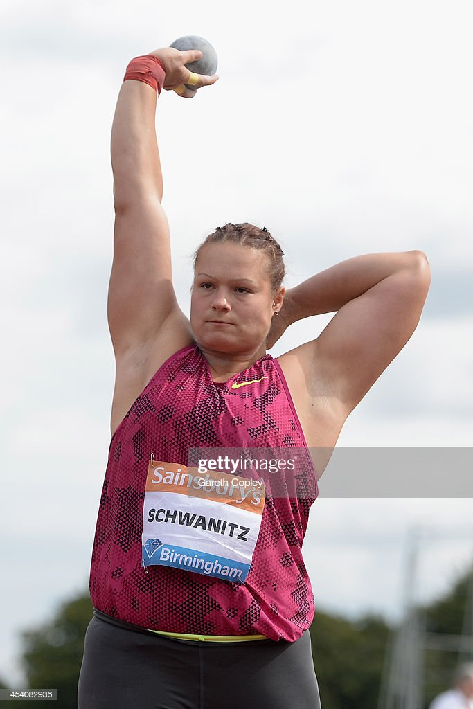 Germany's <a gi-track='captionPersonalityLinkClicked' href=/galleries/search?phrase=Christina+Schwanitz&family=editorial&specificpeople=2287569 ng-click='$event.stopPropagation()'>Christina Schwanitz</a> competes in the Womens Shot Put during the Sainsbury's Birmingham Grand Prix at Alexander Stadium on August 24, 2014 in Birmingham, England.