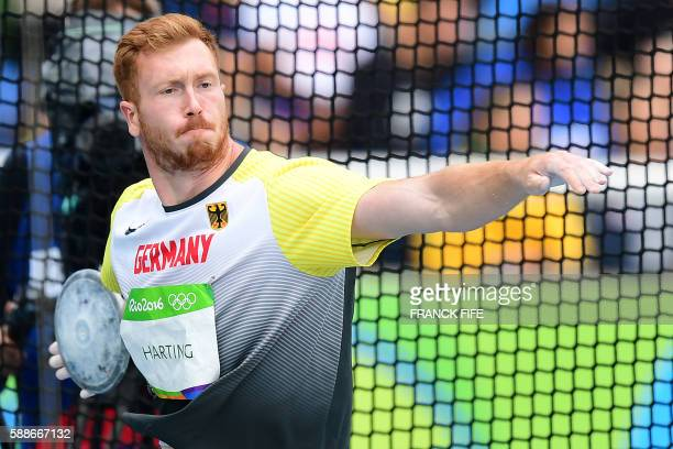 Germany's Christoph Harting competes in the Men's Discus Throw Qualifying Round during the athletics event at the Rio 2016 Olympic Games at the...