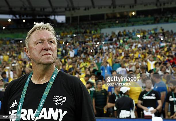 Germany's coach Horst Hrubesch attends the Rio 2016 Olympic Games men's football gold medal match between Brazil and Germany at the Maracana stadium...