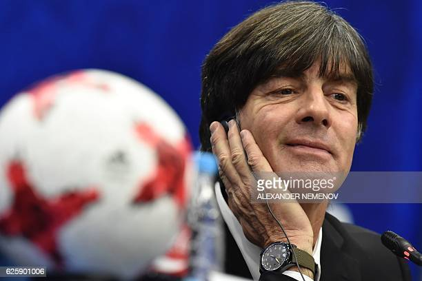Germany's coach Joachim Loew attends a press conference following the draw for the 2017 FIFA Confederations Cup at the tennis academy center in Kazan...