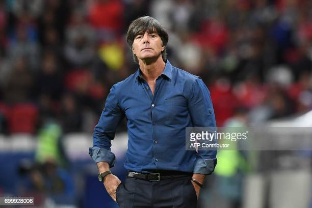 Germany's coach Joachim Loew looks on during the 2017 Confederations Cup group B football match between Germany and Chile at the Kazan Arena Stadium...