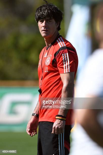 Germany's coach Joachim Loew oversees a training session of Germany's national football team in Santo Andre on June 11 2014 ahead of the 2014 FIFA...