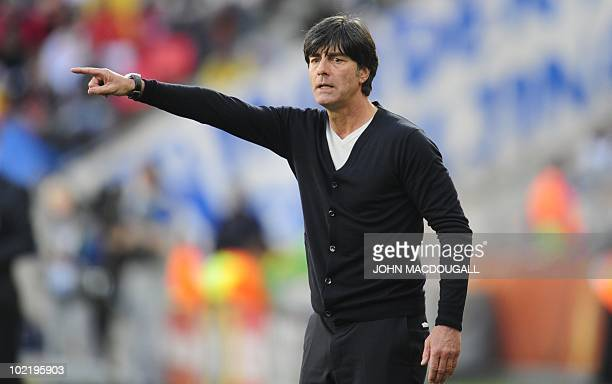 Germany's coach Joachim Loew reacts during the Group D first round 2010 World Cup football match Germany vs Serbia on June 18 2010 at Nelson Mandela...