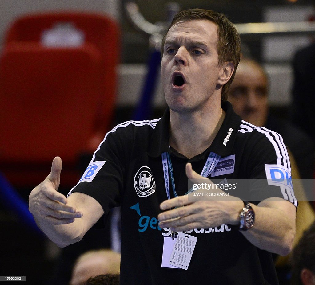 Germany's coach Martin Heuberger gestures during the 23rd Men's Handball World Championships quarterfinal match Spain vs Germany at the Pabellon...