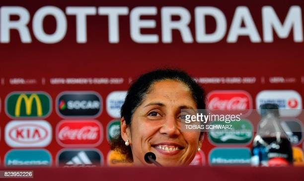 Germany's coach Steffi Jones holds a press conference at the Sparta Rotterdam Stadium during the UEFA Women's Euro 2017 football tournament in...