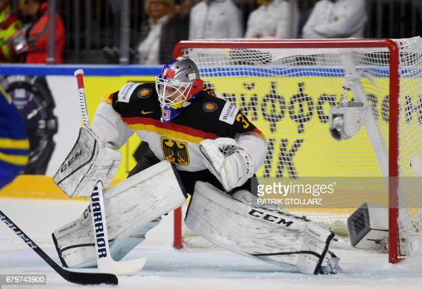 Germany´s Danny Aus den Birken reacts during IIHF Icehockey world championship first round match between Sweden and Germany in the LANXESS arena in...