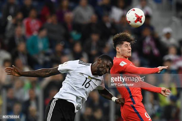 Germany's defender Antonio Ruediger heads the ball with Chile's forward Angelo Sagal during the 2017 Confederations Cup final football match between...