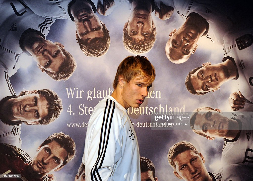 Germany's defender Holger Badstuber leaves after addressing a press conference at the Velmore hotel in Erasmia near Pretoria June 16, 2010. The 2010 World Cup hosted by South Africa continues through July 11.