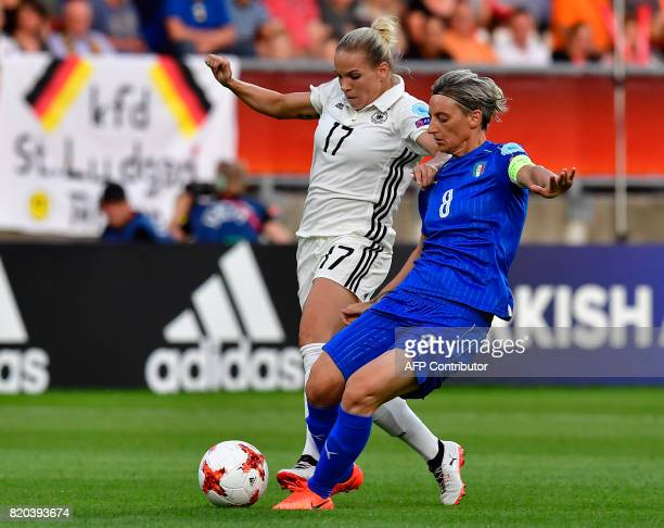 Germany's defender Isabel Kerschowski vies with Italy's forward Melania Gabbiadini during the UEFA Women's Euro 2017 football match between Germany...