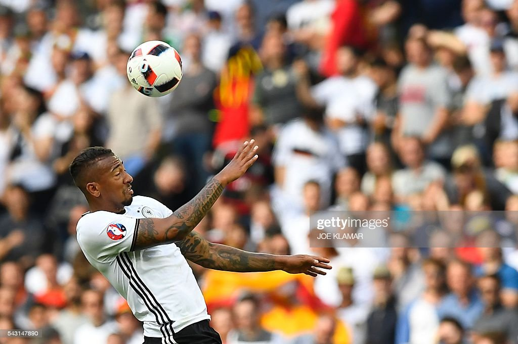 Germany's defender Jerome Boateng controls the ball during the Euro 2016 round of 16 football match between Germany and Slovakia at the Pierre-Mauroy stadium in Villeneuve-d'Ascq near Lille on June 26, 2016. / AFP / Joe KLAMAR