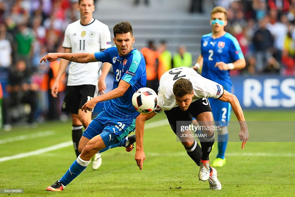 Germany's defender Jonas Hector (R) heads the ball next to Slovakia's forward Michal Duris during the Euro 2016 round of 16 football match between Germany and Slovakia at the Pierre-Mauroy stadium in Villeneuve-d'Ascq near Lille on June 26, 2016. / AFP / Joe KLAMAR