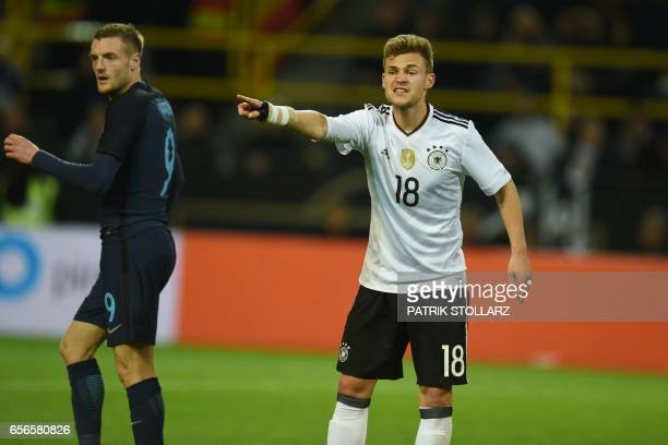 Germany's defender Joshua Kimmich reacts during a friendly football match between Germany and England on March 22 2017 in Dortmund western Germany It...