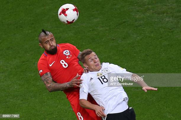 Germany's defender Joshua Kimmich vies with Chile's midfielder Arturo Vidal during the 2017 Confederations Cup group B football match between Germany...