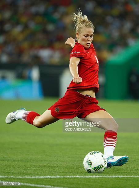 Germany's defender Leonie Maier kicks the ball during the Rio 2016 Olympic Games women's football Gold medal match at the Maracana stadium in Rio de...