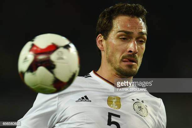 Germany's defender Mats Hummels plays the ball during a friendly football match between Germany and England on March 22 2017 in Dortmund western...