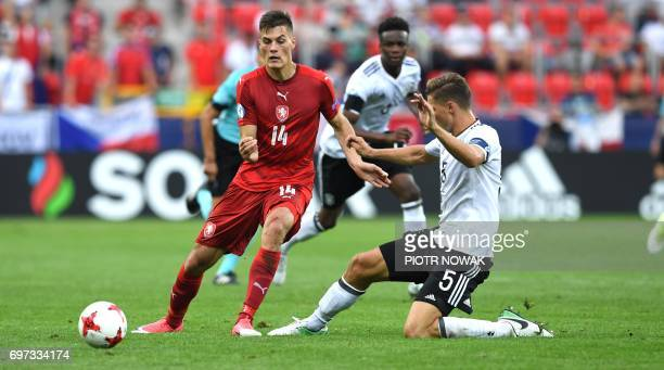 Germany's defender Niklas Stark and Czech Republic's forward Patrick Schick vie for the ball during the UEFA U21 European Championship Group C...