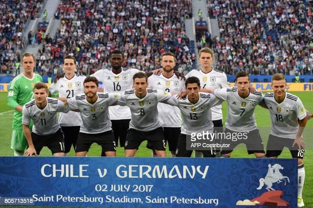 Germany's defender Shkodran Mustafi Germany's midfielder Sebastian Rudy Germany's defender Antonio Ruediger Germany's defender Shkodran Mustafi...