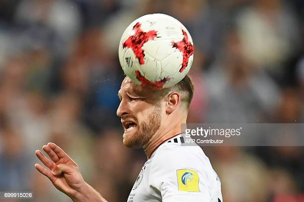 Germany's defender Shkodran Mustafi heads the ball during the 2017 Confederations Cup group B football match between Germany and Chile at the Kazan...