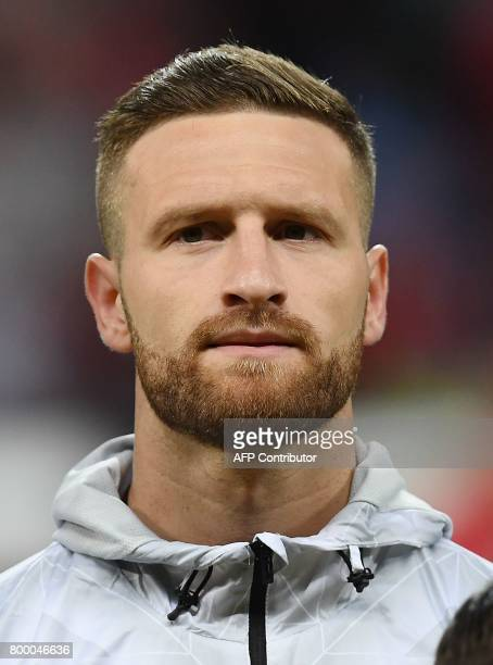 Germany's defender Shkodran Mustafi listens to the national anthems ahead of the 2017 Confederations Cup group B football match between Germany and...