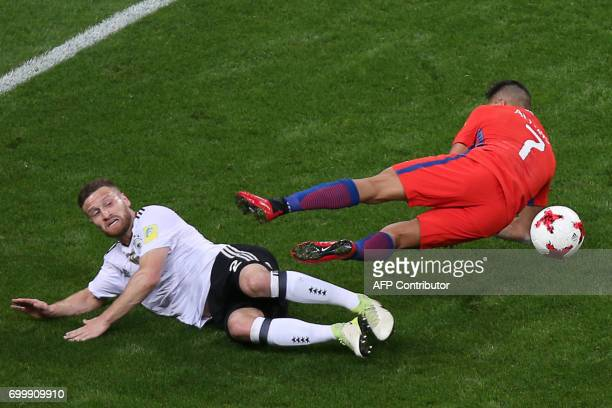 Germany's defender Shkodran Mustafi vies with Chile's forward Alexis Sanchez during the 2017 Confederations Cup group B football match between...