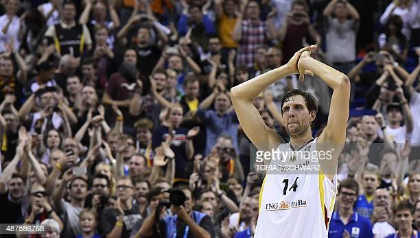 Germany's Dirk Nowitzki reacts after the EuroBasket group B match Germay vs Spain in Berlin on September 10 2015 AFP PHOTO / TOBIAS SCHWARZ