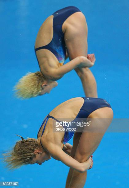 Germany's Ditte Kotzian and Heike Fischer perform in the women's synchronised 3m springboard diving competition final at the 2008 Beijing Olympic...