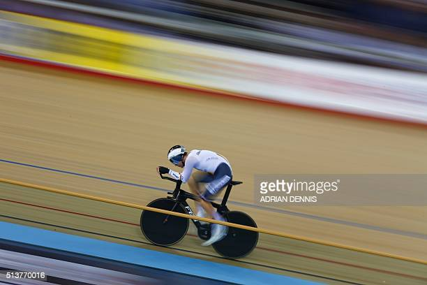 Germany's Domenic Weinstein cycles to silver in the Men's Individual pursuit final during the 2016 Track Cycling World Championships at the Lee...