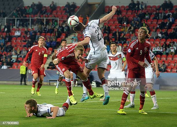 Germany's Dominique Heintz fights for a ball with Denmark's Nicolai BrockMadsen during the final tournament of the EURO U21 2015 group A match...