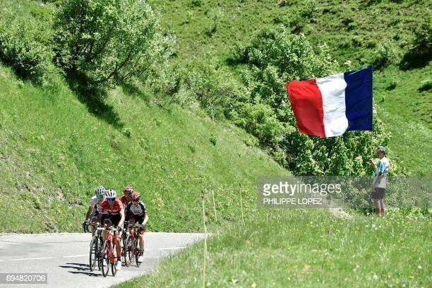 Germany's Emanuel Buchmann wearing the best young's white jersey Spain's Alberto Contador Spain's Rafael Valls and South Africa's Louis Meintjies...