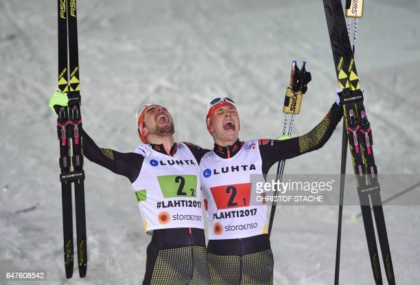 Germany's Eric Frenzel and Johannes Rydzek celebrate after winning the Nordic Combined team sprint competition of the 2017 FIS Nordic World Ski...