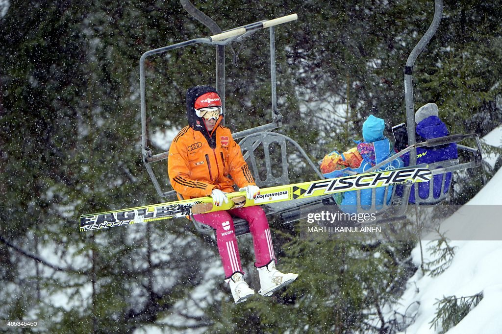 Germany's <a gi-track='captionPersonalityLinkClicked' href=/galleries/search?phrase=Eric+Frenzel&family=editorial&specificpeople=4595984 ng-click='$event.stopPropagation()'>Eric Frenzel</a> is pictured during the Nordic Combined Individual Gundersen Ski Jumping Large Hill in the FIS World Cup Ski Games in Lahti, Finland on March 6, 2015. AFP PHOTO / LEHTIKUVA / Martti Kainulainen