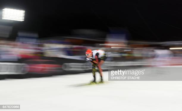 Germany's Eric Frenzel skis downhill during the Nordic Combined team sprint competition of the 2017 FIS Nordic World Ski Championships in Lahti...
