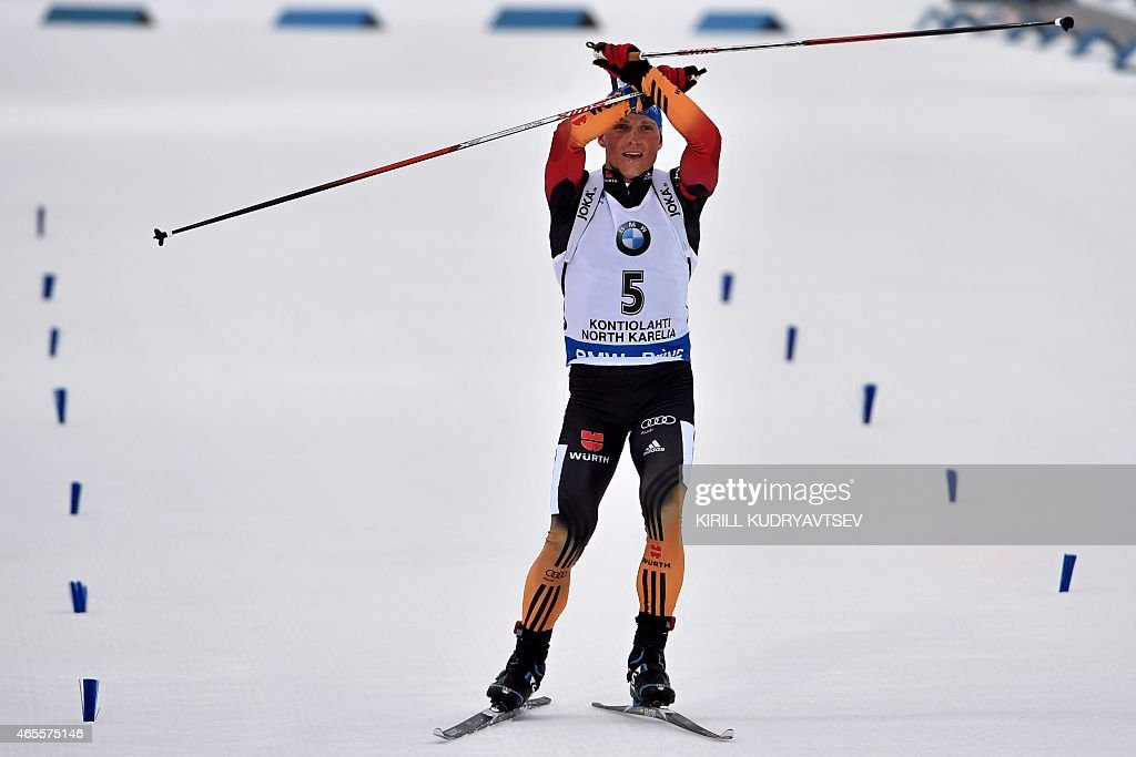 Germany's <a gi-track='captionPersonalityLinkClicked' href=/galleries/search?phrase=Erik+Lesser&family=editorial&specificpeople=6837118 ng-click='$event.stopPropagation()'>Erik Lesser</a> reacts after the Men 12,5 km Pursuit at the IBU Biathlon World Championship in Kontiolahti, Finland on March 8, 2015. Germany's <a gi-track='captionPersonalityLinkClicked' href=/galleries/search?phrase=Erik+Lesser&family=editorial&specificpeople=6837118 ng-click='$event.stopPropagation()'>Erik Lesser</a> won the competition, Russia's Anton Shipulin placed second and Norway's Tarjei Boe placed third.
