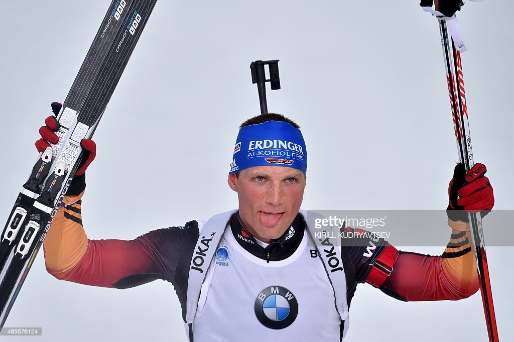 Germany's <a gi-track='captionPersonalityLinkClicked' href=/galleries/search?phrase=Erik+Lesser&family=editorial&specificpeople=6837118 ng-click='$event.stopPropagation()'>Erik Lesser</a> reacts after winning the Men 12,5 km Pursuit at the IBU Biathlon World Championship in Kontiolahti, Finland on March 8, 2015. Germany's <a gi-track='captionPersonalityLinkClicked' href=/galleries/search?phrase=Erik+Lesser&family=editorial&specificpeople=6837118 ng-click='$event.stopPropagation()'>Erik Lesser</a> won the competition, Russia's Anton Shipulin placed second and Norway's Tarjei Boe placed third.