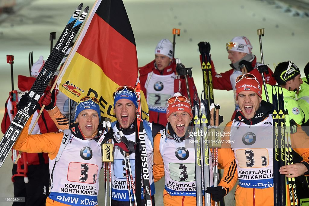 Germany's (L-R) <a gi-track='captionPersonalityLinkClicked' href=/galleries/search?phrase=Erik+Lesser&family=editorial&specificpeople=6837118 ng-click='$event.stopPropagation()'>Erik Lesser</a>, <a gi-track='captionPersonalityLinkClicked' href=/galleries/search?phrase=Simon+Schempp&family=editorial&specificpeople=6479583 ng-click='$event.stopPropagation()'>Simon Schempp</a>, <a gi-track='captionPersonalityLinkClicked' href=/galleries/search?phrase=Daniel+Boehm&family=editorial&specificpeople=4595949 ng-click='$event.stopPropagation()'>Daniel Boehm</a> and <a gi-track='captionPersonalityLinkClicked' href=/galleries/search?phrase=Arnd+Peiffer&family=editorial&specificpeople=5658801 ng-click='$event.stopPropagation()'>Arnd Peiffer</a> react after the Men 4x7,5 relay at the IBU Biathlon World Championship in Kontiolahti, Finland on March 14, 2015. Germany's team won the competition, Norway's team placed second and France placed third.
