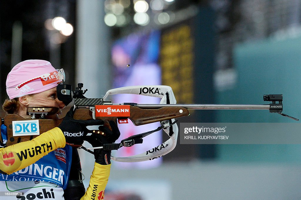 Germany's Evi Sachenbacher-Stehle shoots during the Women's 4x6 km Relay of the IBU Biathlon World Cup at Laura Cross Country and Biathlon Center in the Russian Black Sea resort of Sochi on March 10, 2013. Germany took first place ahead of Ukraine and Norway.